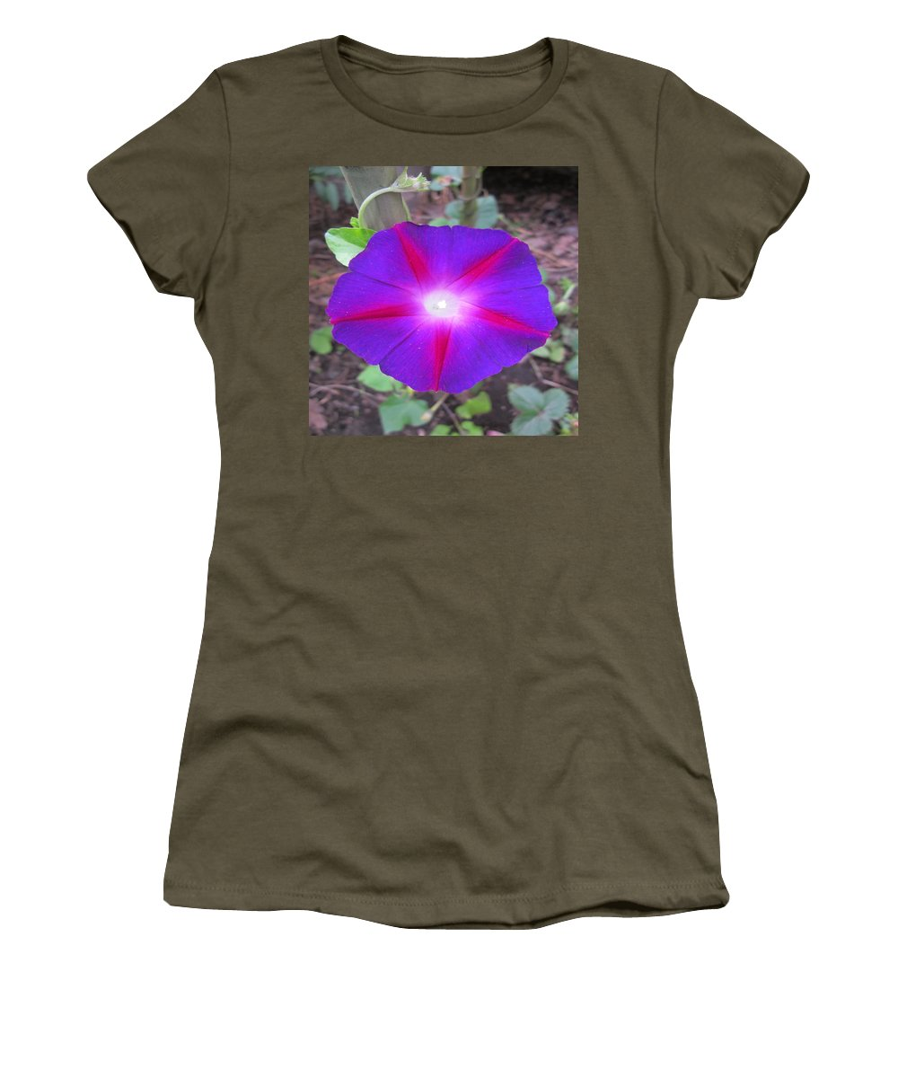 Morning Glory Women's T-Shirt featuring the photograph Luminous Morning Glory In Purple Shines On You by Rosita Larsson