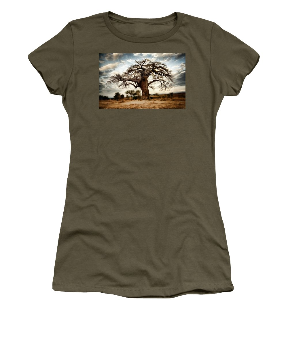 Nature Women's T-Shirt featuring the painting Luminous Sky And Tree Skeleton On The Prairie by Elaine Plesser