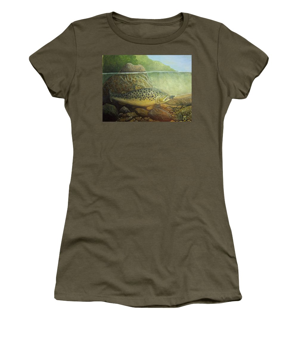 Rick Huotari Women's T-Shirt (Athletic Fit) featuring the painting Lurking by Rick Huotari