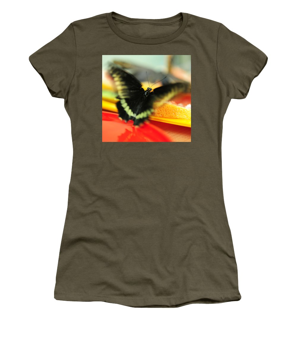 Butterfly Women's T-Shirt featuring the photograph Madame Butterfly. Impressionism by Jenny Rainbow