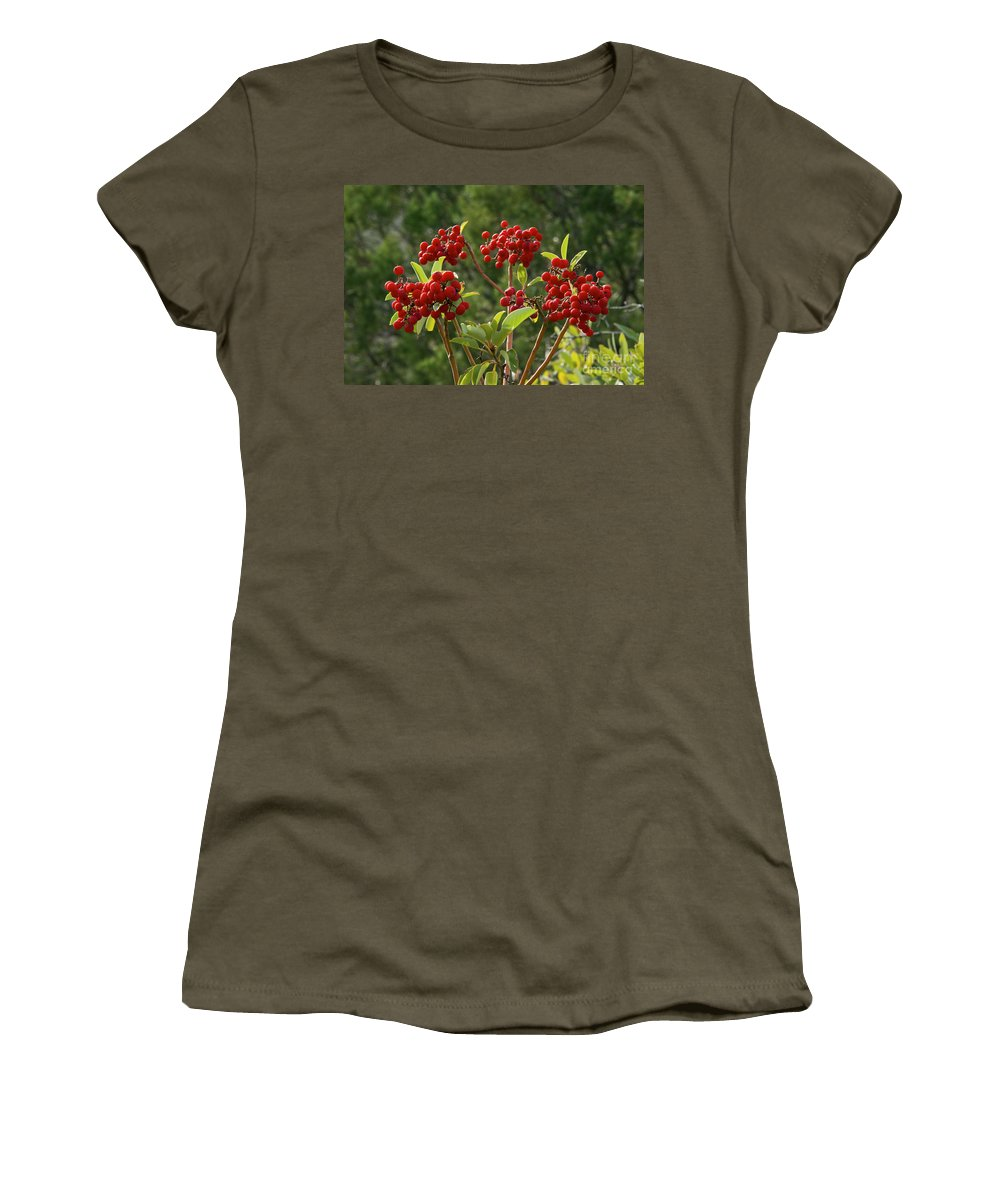 Guadalupe Mountains National Park Texas Mckittrick Canyon Trail Trails Madrone Tree Trees Berry Berries Nature Food Women's T-Shirt featuring the photograph Madrone Berries by Bob Phillips