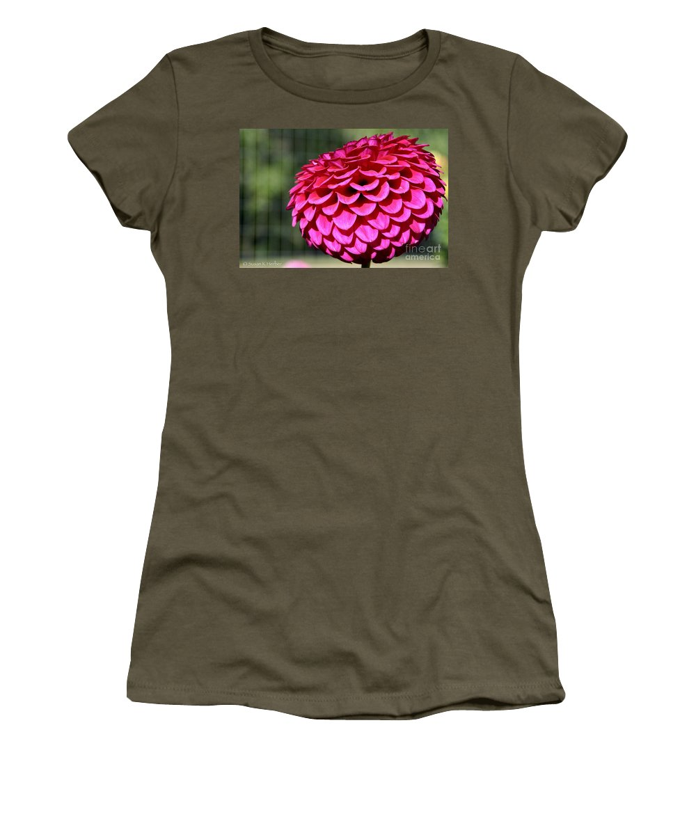 Flower Women's T-Shirt featuring the photograph Magenta's Orb by Susan Herber