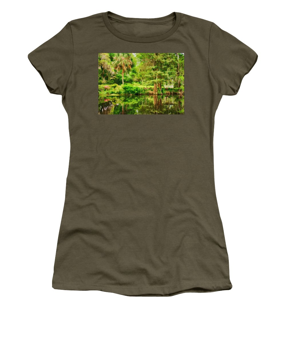 Magnolia Plantation Gardens Women's T-Shirt featuring the photograph Magnolia Plantation Gardens by Priscilla Burgers