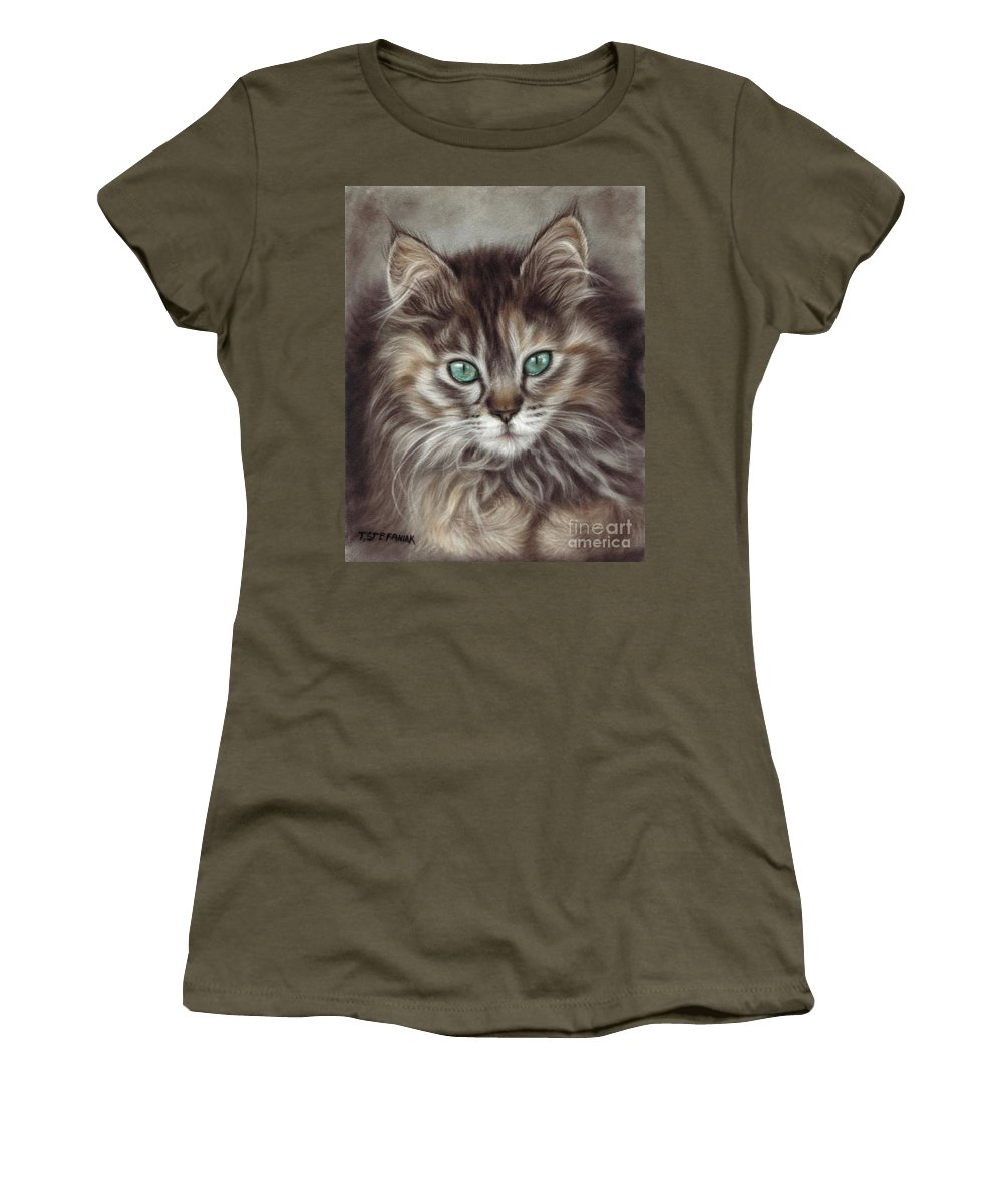 Cats Women's T-Shirt featuring the drawing Maine Coon by Tobiasz Stefaniak