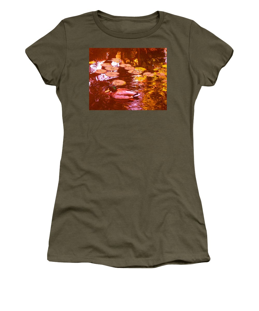 Landscapes Women's T-Shirt featuring the painting Malard Duck On Pond 3 by Amy Vangsgard