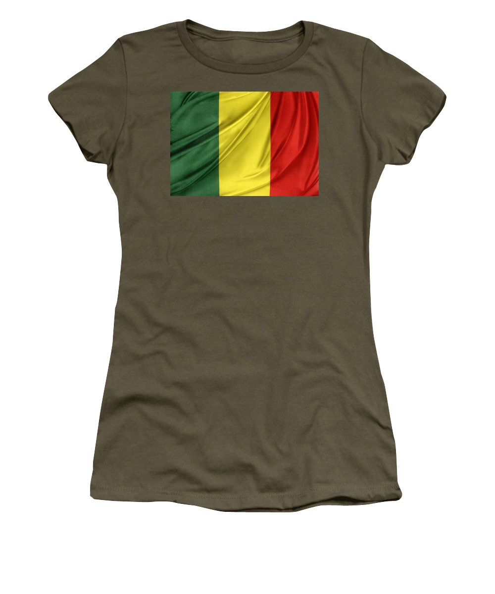 Background Women's T-Shirt featuring the photograph Mali Flag by Les Cunliffe