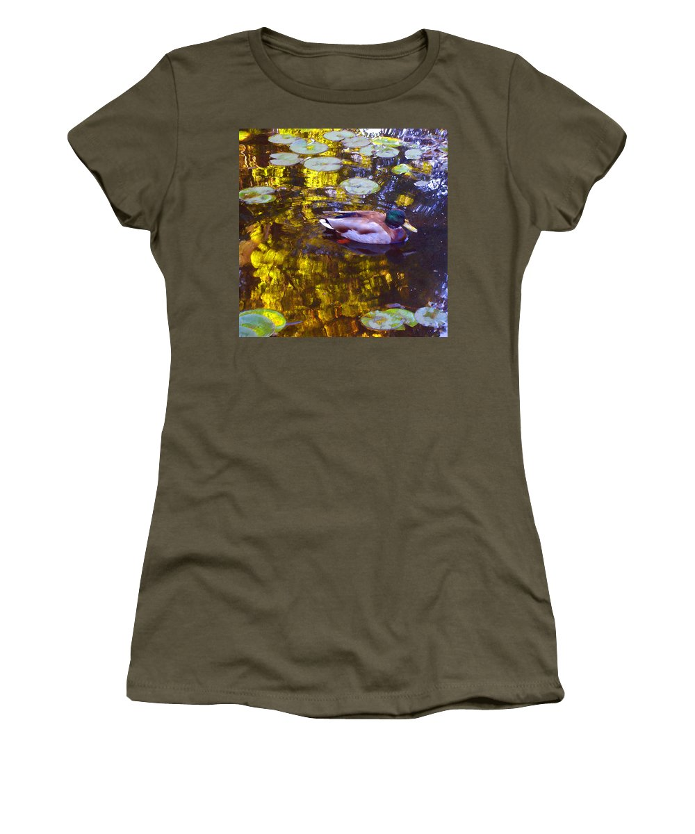 Landscapes Women's T-Shirt featuring the painting Mallard Duck On Pond 2 by Amy Vangsgard