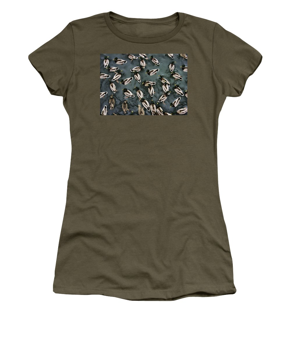 Ducks Women's T-Shirt featuring the digital art Mallard Ducks On A Pond by Daniel Hagerman
