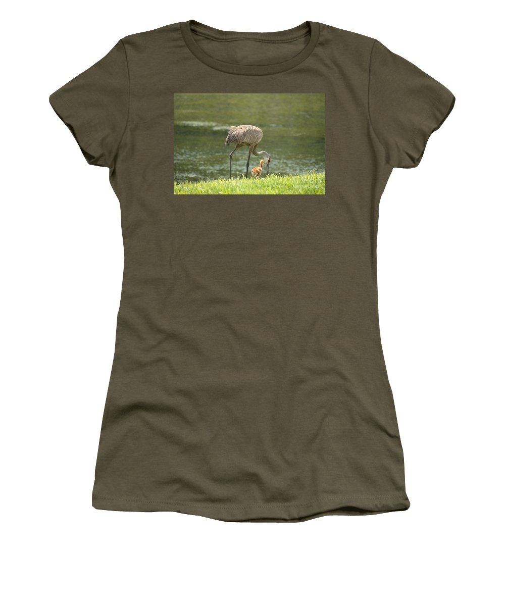 Sandhill Crane Women's T-Shirt (Athletic Fit) featuring the photograph Mama And Chick by Carol Groenen