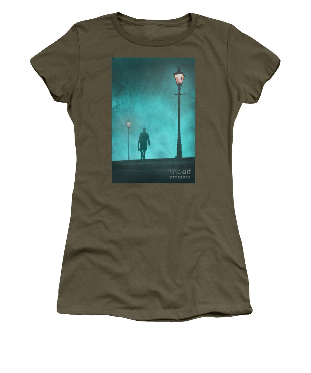 Spy Women's T-Shirt (Athletic Fit) featuring the photograph Man With Hat And Overcoat Carrying A Briefcase In Fog by Lee Avison