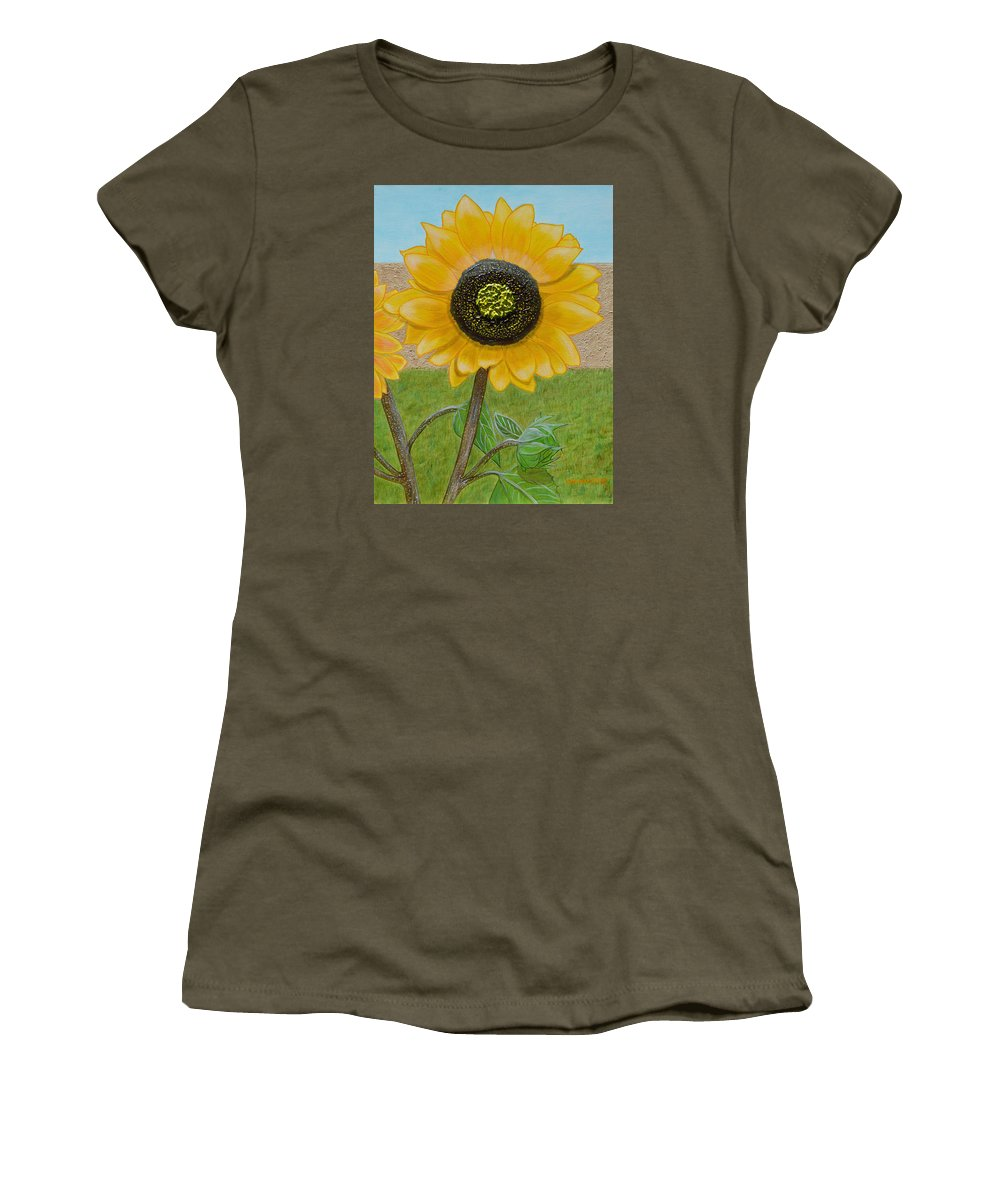 Sunflower Women's T-Shirt (Athletic Fit) featuring the painting Mandy's Dazzling Diva by Donna Manaraze