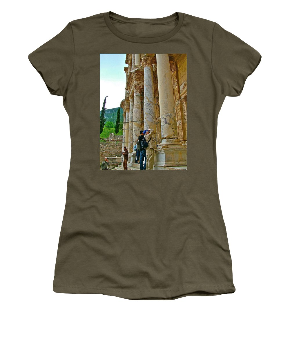 Many Photographers At Library Of Celsus In Ephesus Women's T-Shirt featuring the photograph Many Photographers At Library Of Celsus-ephesus by Ruth Hager