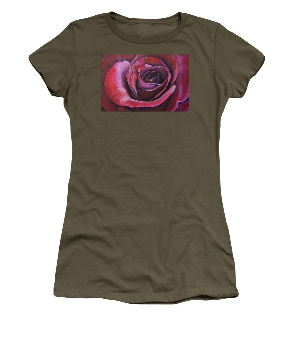 Rose Women's T-Shirt featuring the painting March Rose by Thu Nguyen