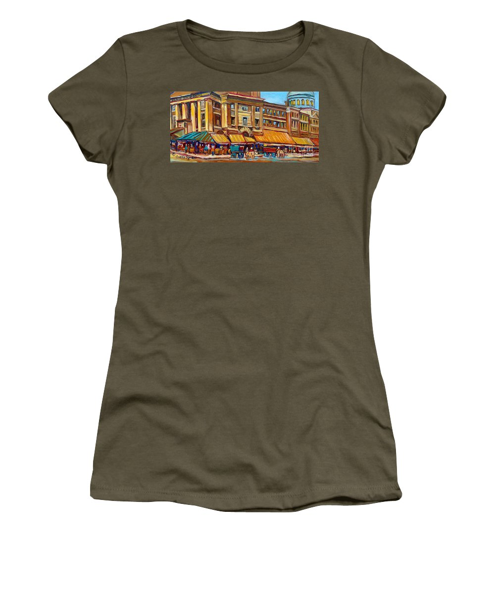 Montreal Art Women's T-Shirt featuring the painting Marche Bonsecours Old Montreal by Carole Spandau