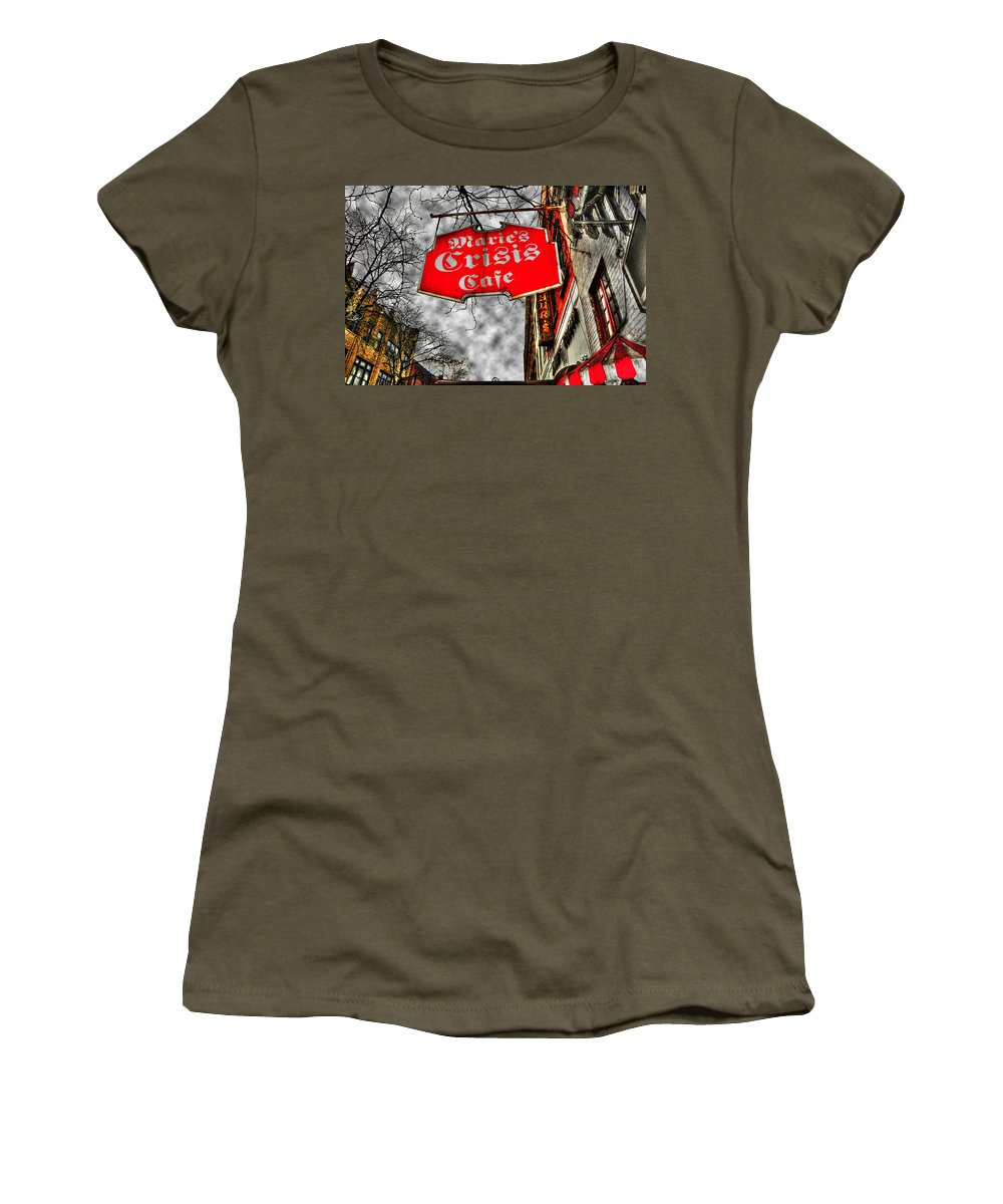 Cafe Women's T-Shirt featuring the photograph Marie's Crisis Cafe by Randy Aveille