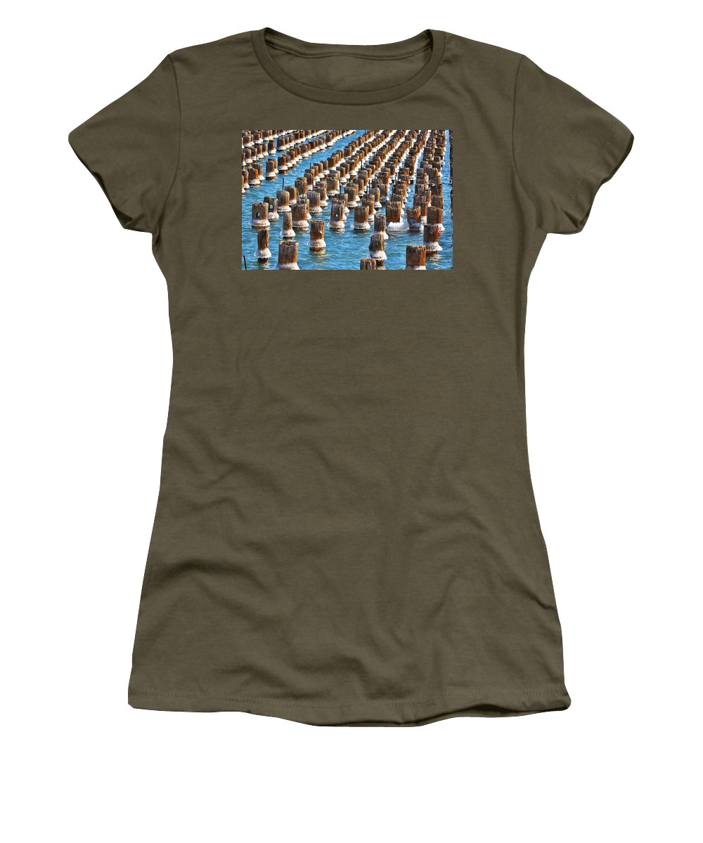 Upper Peninsula Women's T-Shirt featuring the photograph Marquette Harbor Icy Piers by Kathryn Lund Johnson