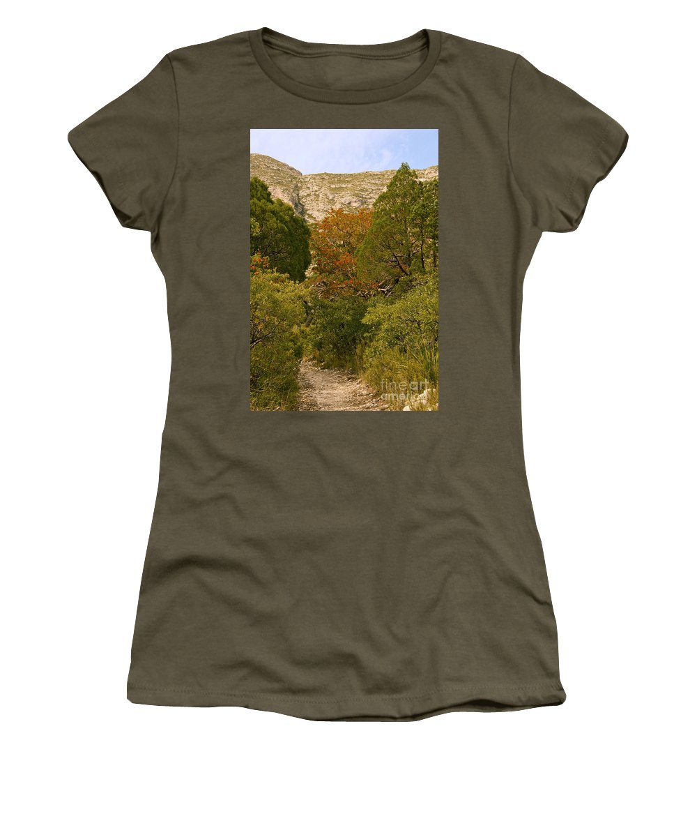 Guadalupe Mountains National Park Texas Mckittrick Canyon Trail Trails Madrone Tree Trees Nature Path Paths Rock Rocks Mountain Landscape Landscapes Women's T-Shirt featuring the photograph Mckittrick Canyon Trail by Bob Phillips