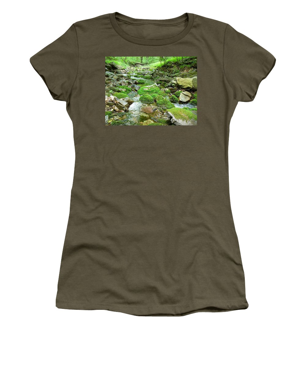 Pocono Women's T-Shirt featuring the photograph Meandering Stream by Two Bridges North