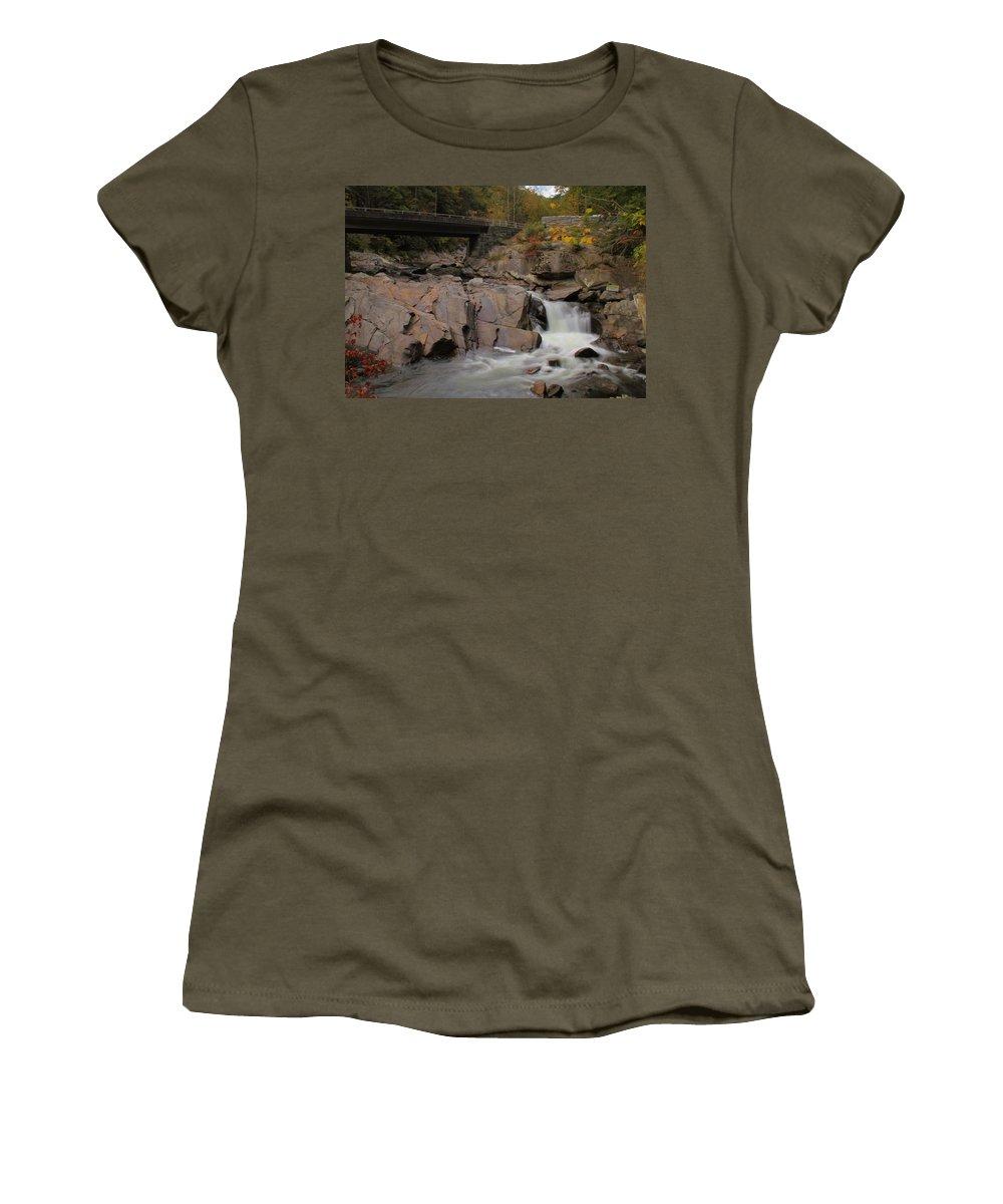 Meigs Falls In Autumn Women's T-Shirt featuring the photograph Meigs Falls In Autumn by Dan Sproul