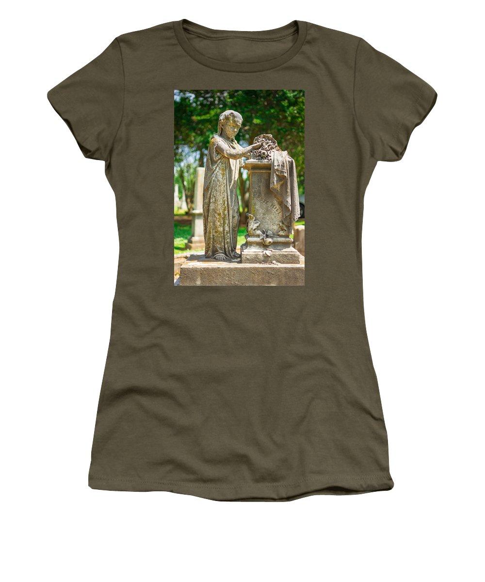 Memphis Women's T-Shirt featuring the photograph Memphis Elmwood Cemetery Monument - Cassie Hill by Jon Woodhams