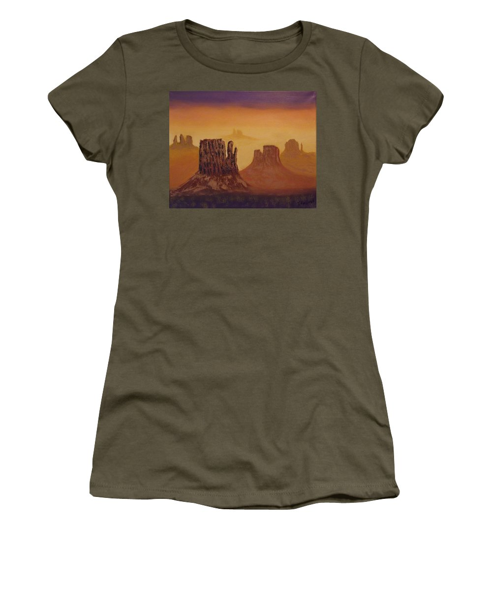 Mesa Women's T-Shirt (Athletic Fit) featuring the painting Mesas by Tim Longwell