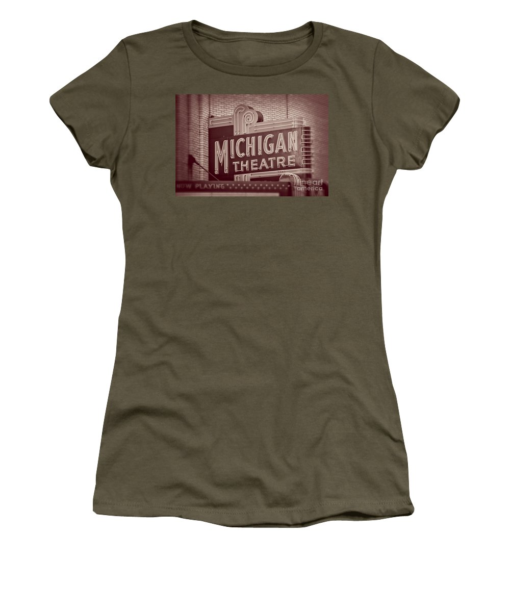 Michigan Women's T-Shirt featuring the photograph Michigan Theatre by Emily Kay