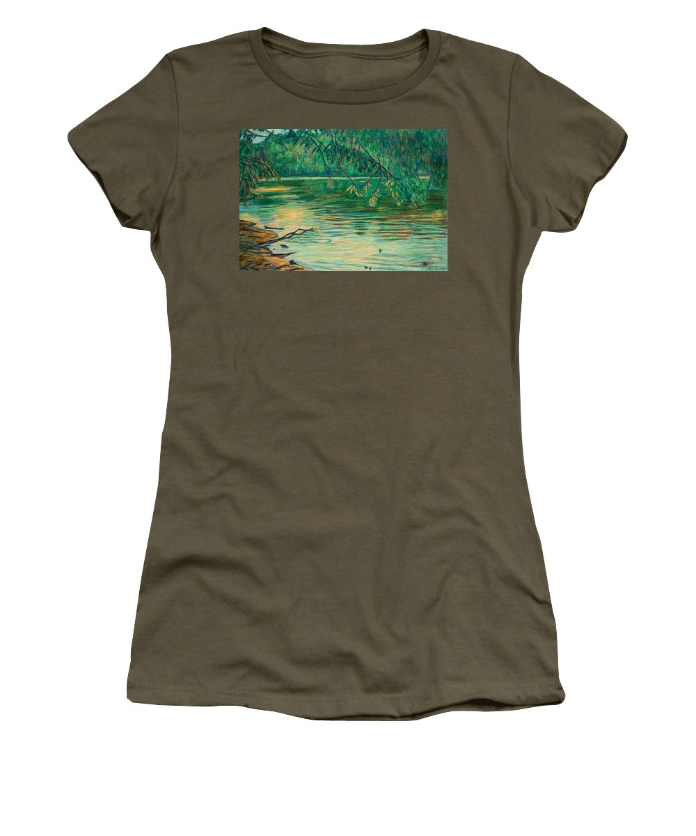 Landscape Women's T-Shirt featuring the painting Mid-spring On The New River by Kendall Kessler