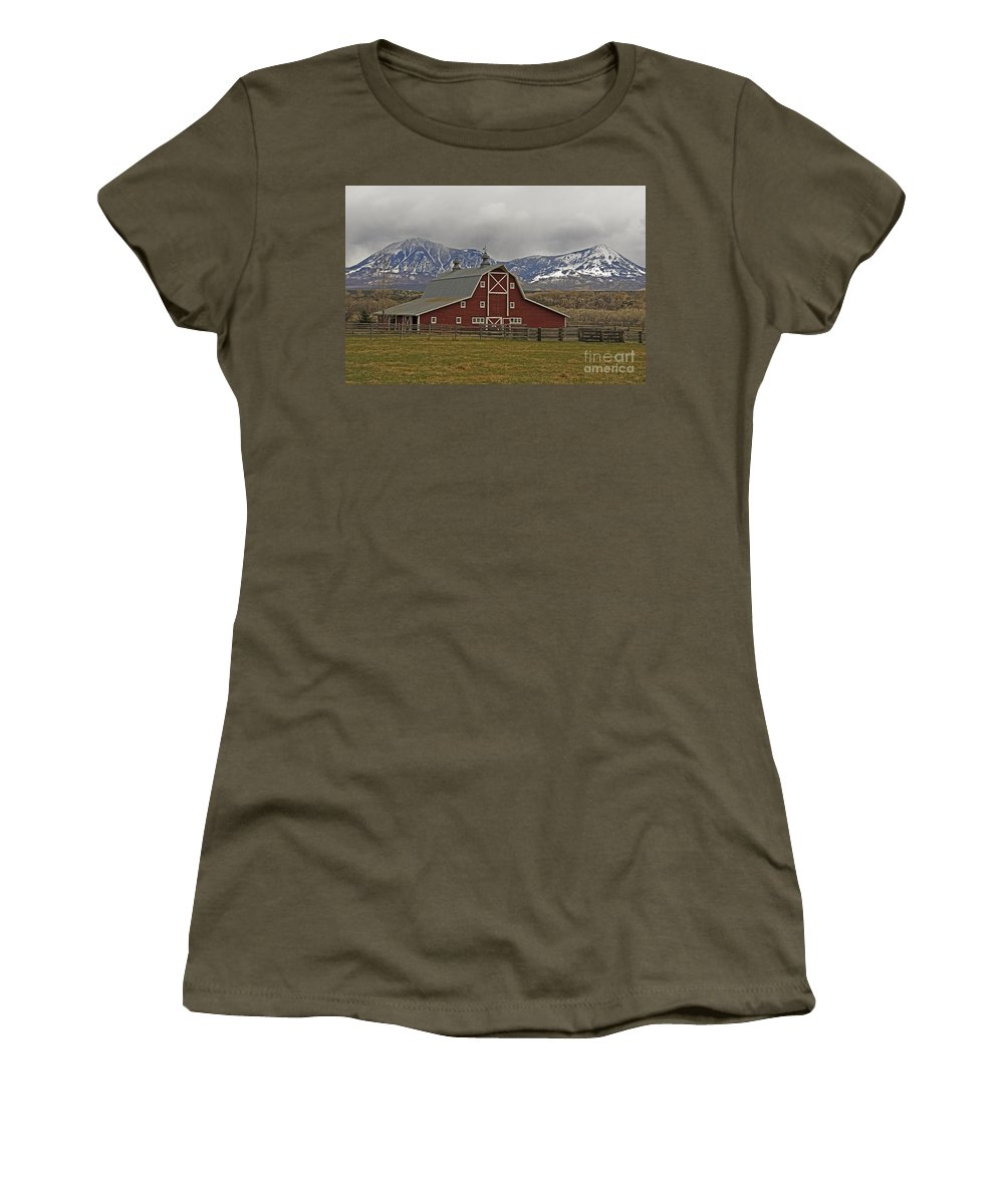Midway Ranch Women's T-Shirt featuring the photograph Midway Ranch Barn by Kelly Black
