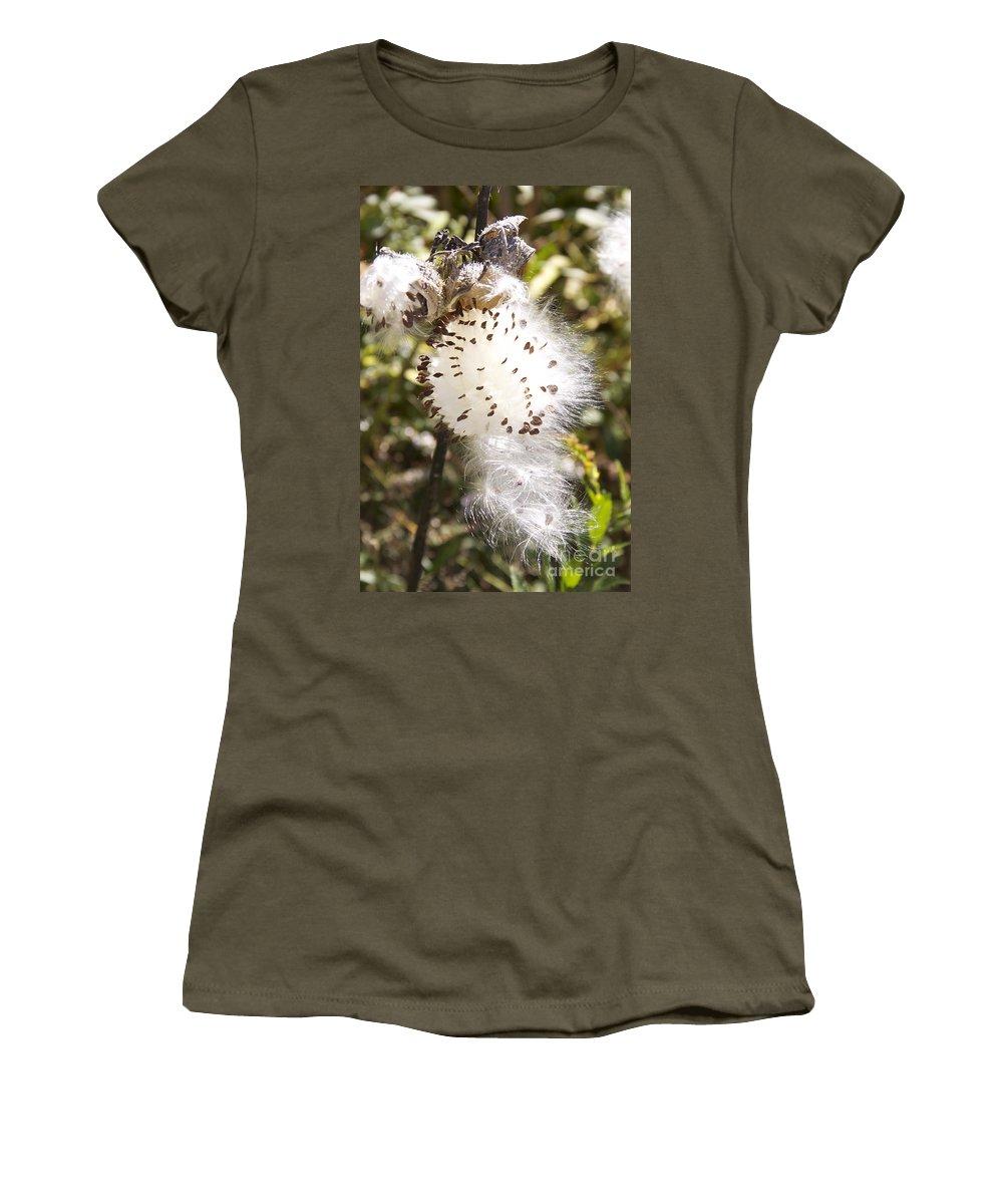 Milkweed Seeds Women's T-Shirt featuring the photograph Milkweed Seeds 3 by Michael Mooney