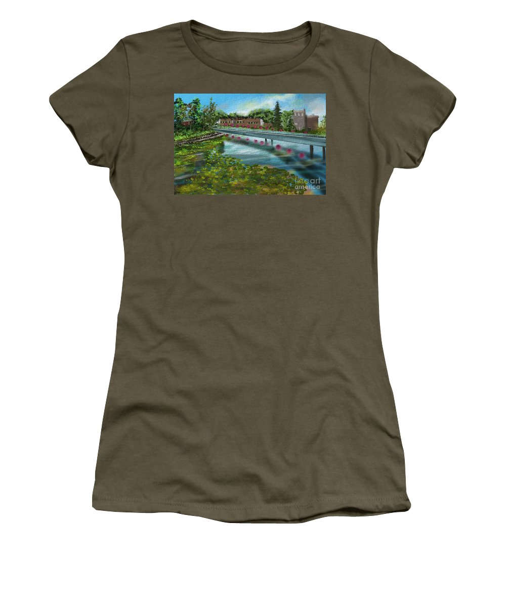 Water Women's T-Shirt featuring the painting Millpond by Nancy Long