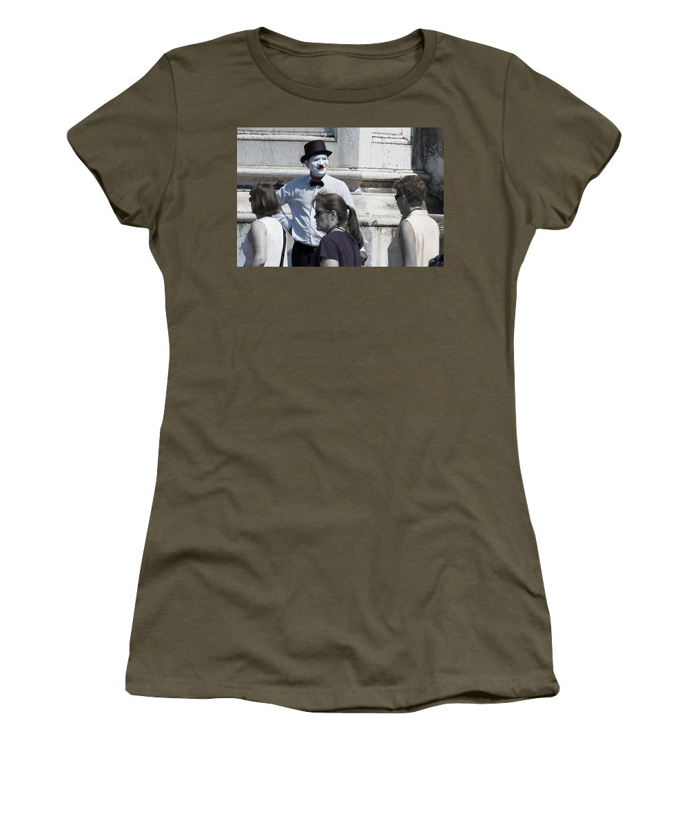 Mime Women's T-Shirt featuring the photograph Mime In Venice by David Resnikoff