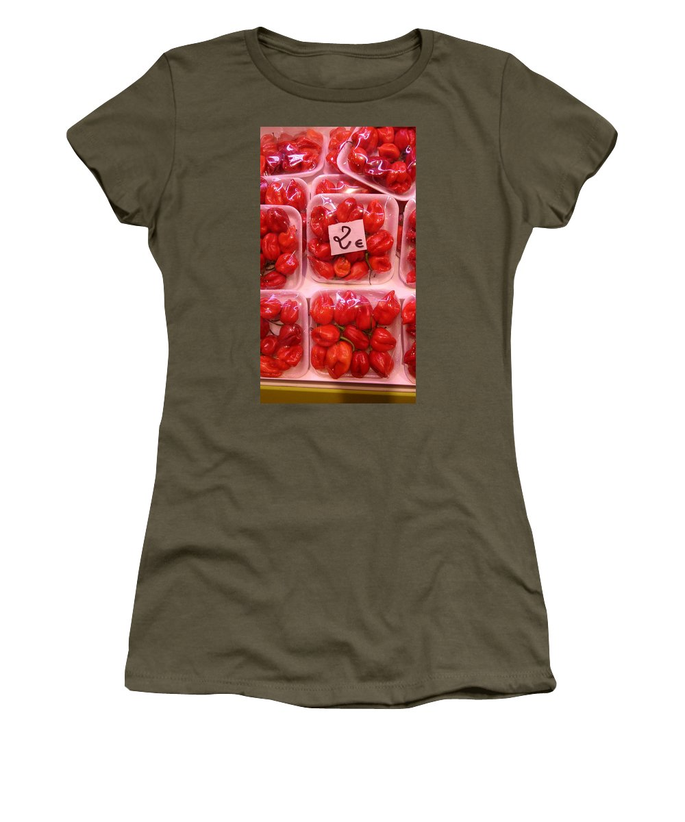 Vegetables Women's T-Shirt featuring the photograph Mini Red Peppers by Moshe Harboun