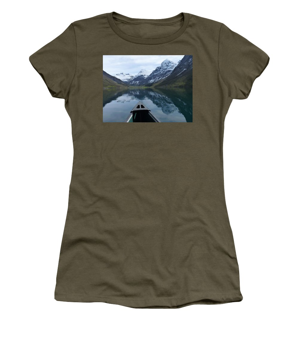 Women's T-Shirt (Athletic Fit) featuring the photograph Mirrored Voyage by Katerina Naumenko