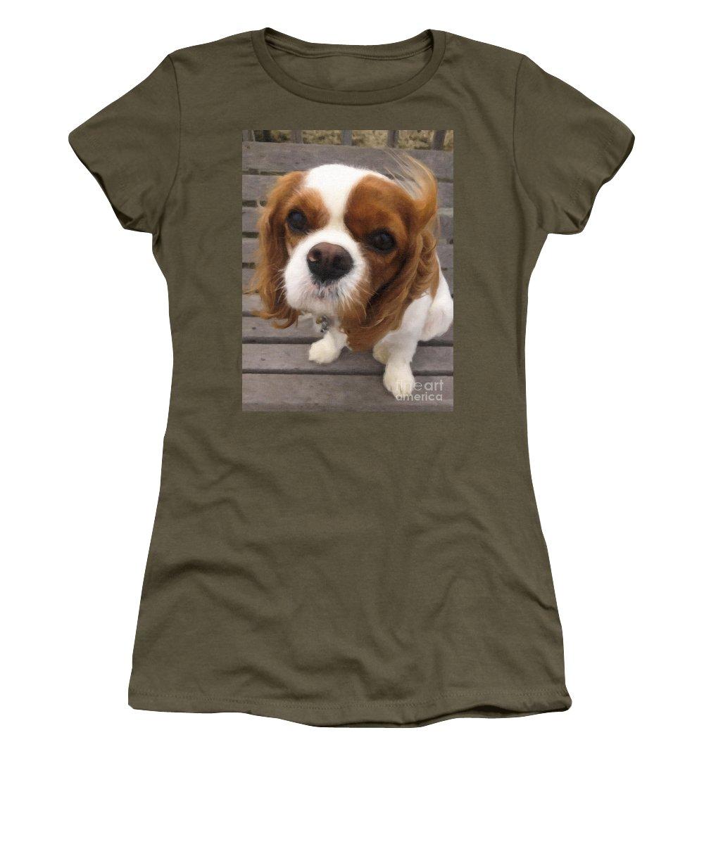 King Charles Cavalier Spaniel Women's T-Shirt featuring the digital art Miss Daisy by Dale Powell