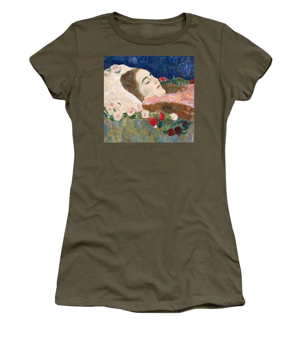 Gustav Klimt Women's T-Shirt featuring the painting Miss Ria Munk On Her Deathbed by Gustav Klimt