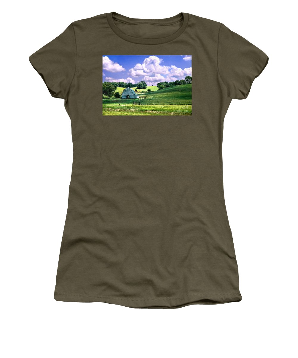 Landscape Women's T-Shirt (Athletic Fit) featuring the photograph Missouri River Valley by Steve Karol