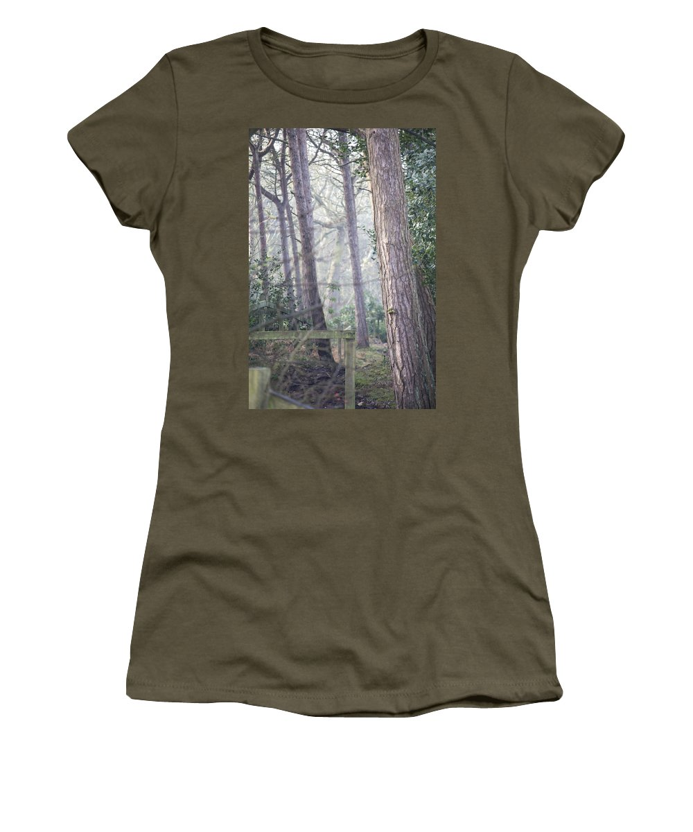 Karen Lawrence Women's T-Shirt (Athletic Fit) featuring the photograph Mist Through The Trees by Spikey Mouse Photography