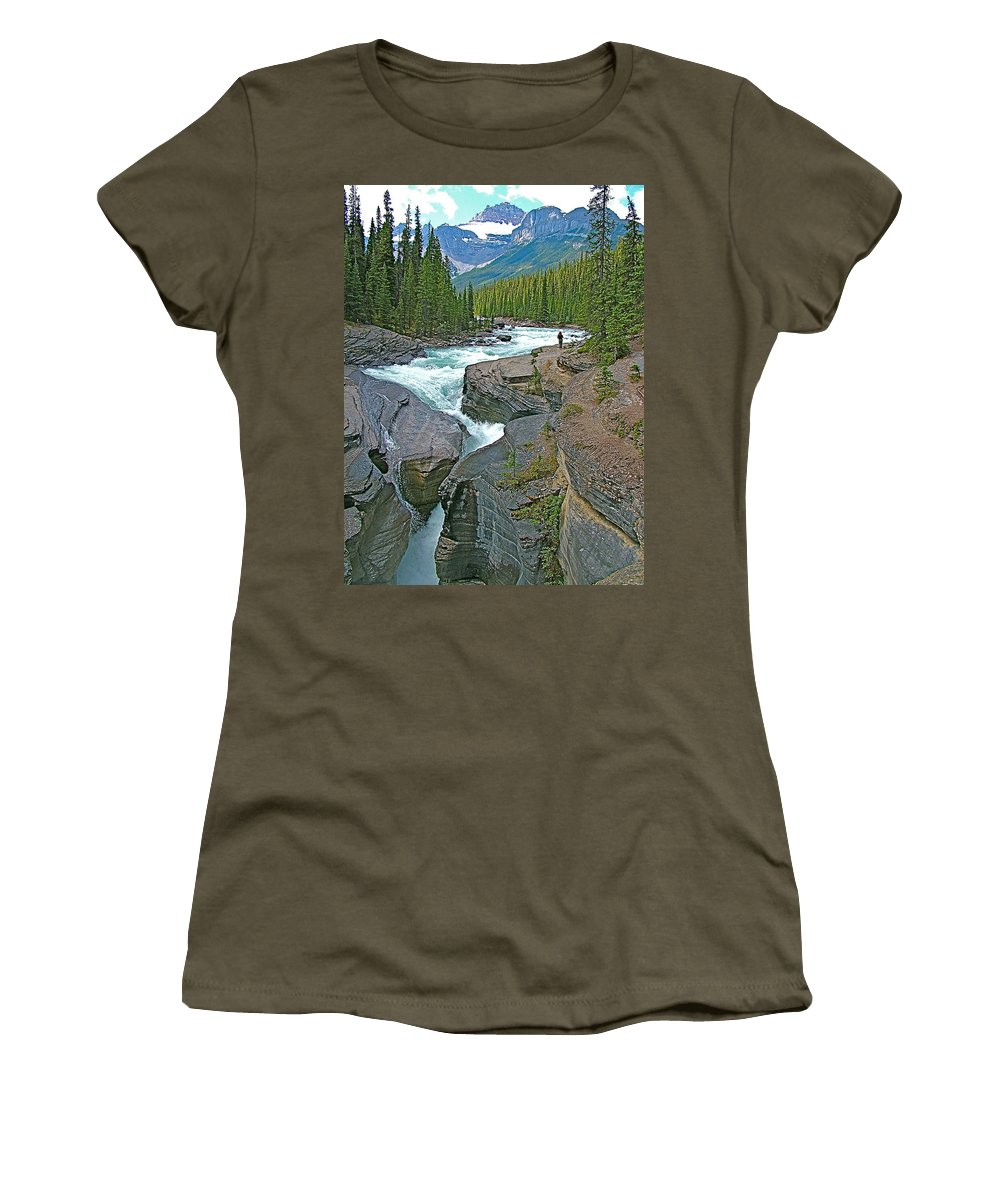 Mistaya Canyon Along Icefields Parkway In Alberta Women's T-Shirt featuring the photograph Mistaya Canyon Along Icefield Parkway In Alberta by Ruth Hager