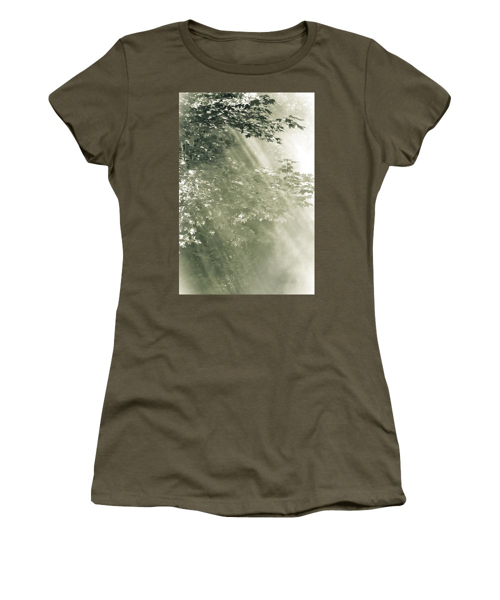 Misty Forest Foliage Women's T-Shirt featuring the photograph Misty Forest by Peter v Quenter