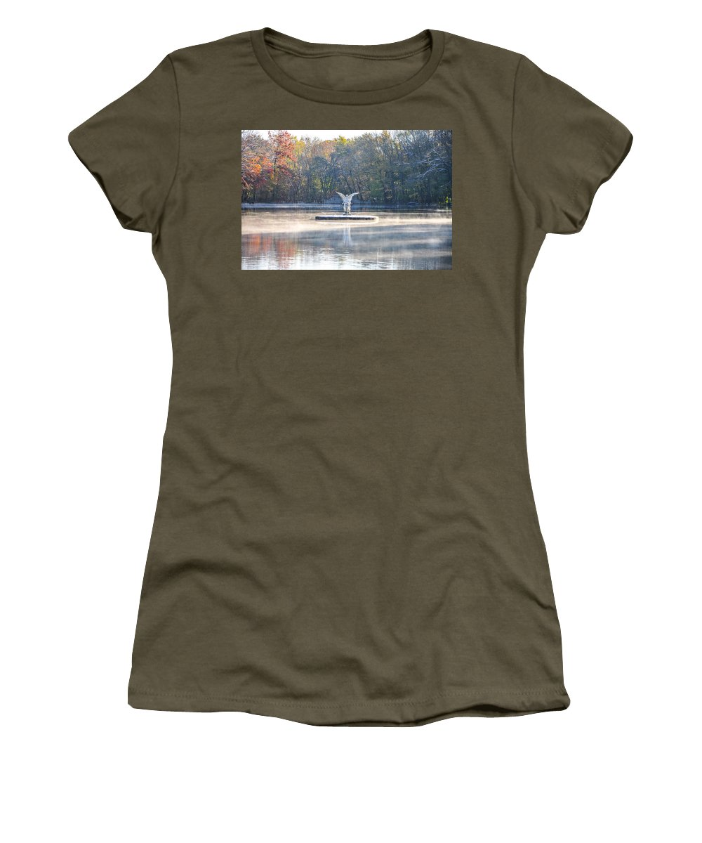 Misty Women's T-Shirt featuring the photograph Misty Lake Angel by Bill Cannon