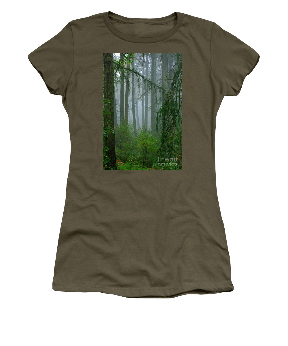 Misty Women's T-Shirt featuring the photograph Misty Woodland by Louise Heusinkveld