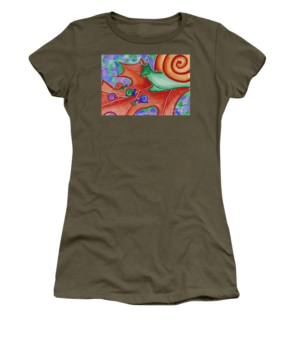 Snail Women's T-Shirt featuring the painting Mom Snail by Lori Ziemba