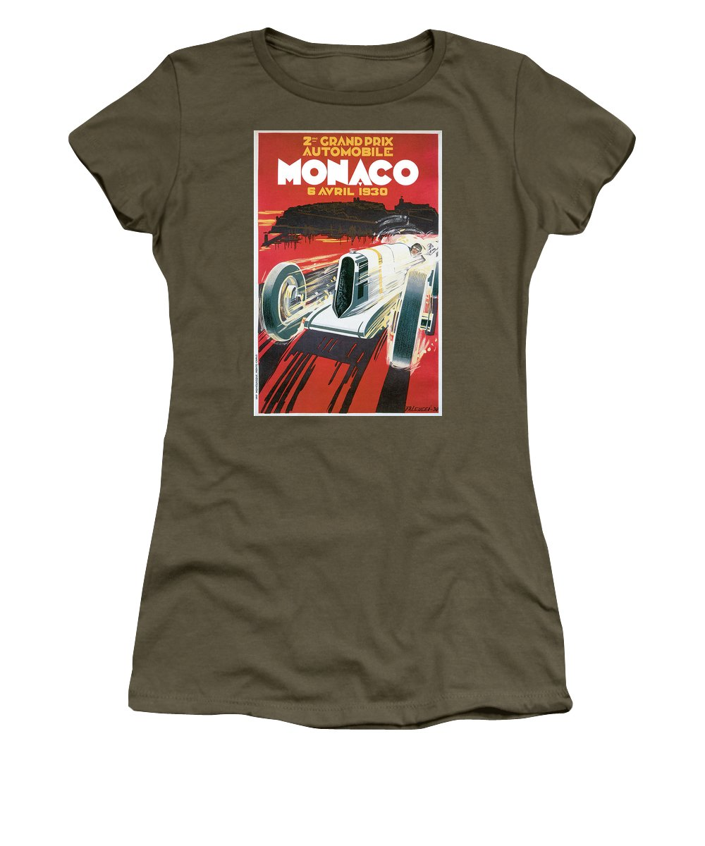 Cars Women's T-Shirt featuring the drawing Monaco Grand Prix Vintage Poster by World Art Prints And Designs