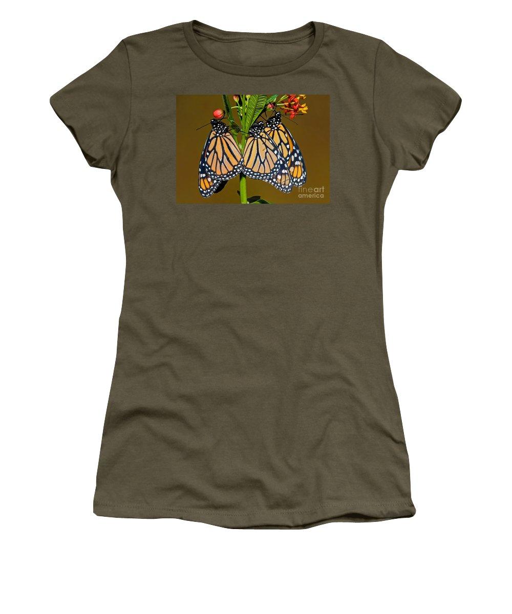 Animal Women's T-Shirt featuring the photograph Monarch Butterflies by Millard H. Sharp