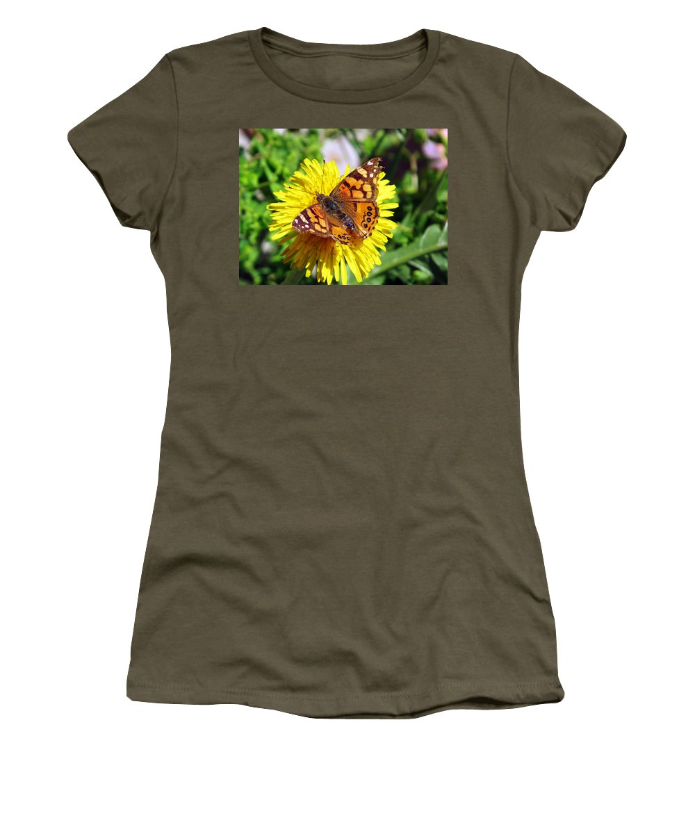 Butterfly Women's T-Shirt featuring the photograph Monarch Butterfly Feeding On A Yellow Dandelion Flower by Jessica Foster