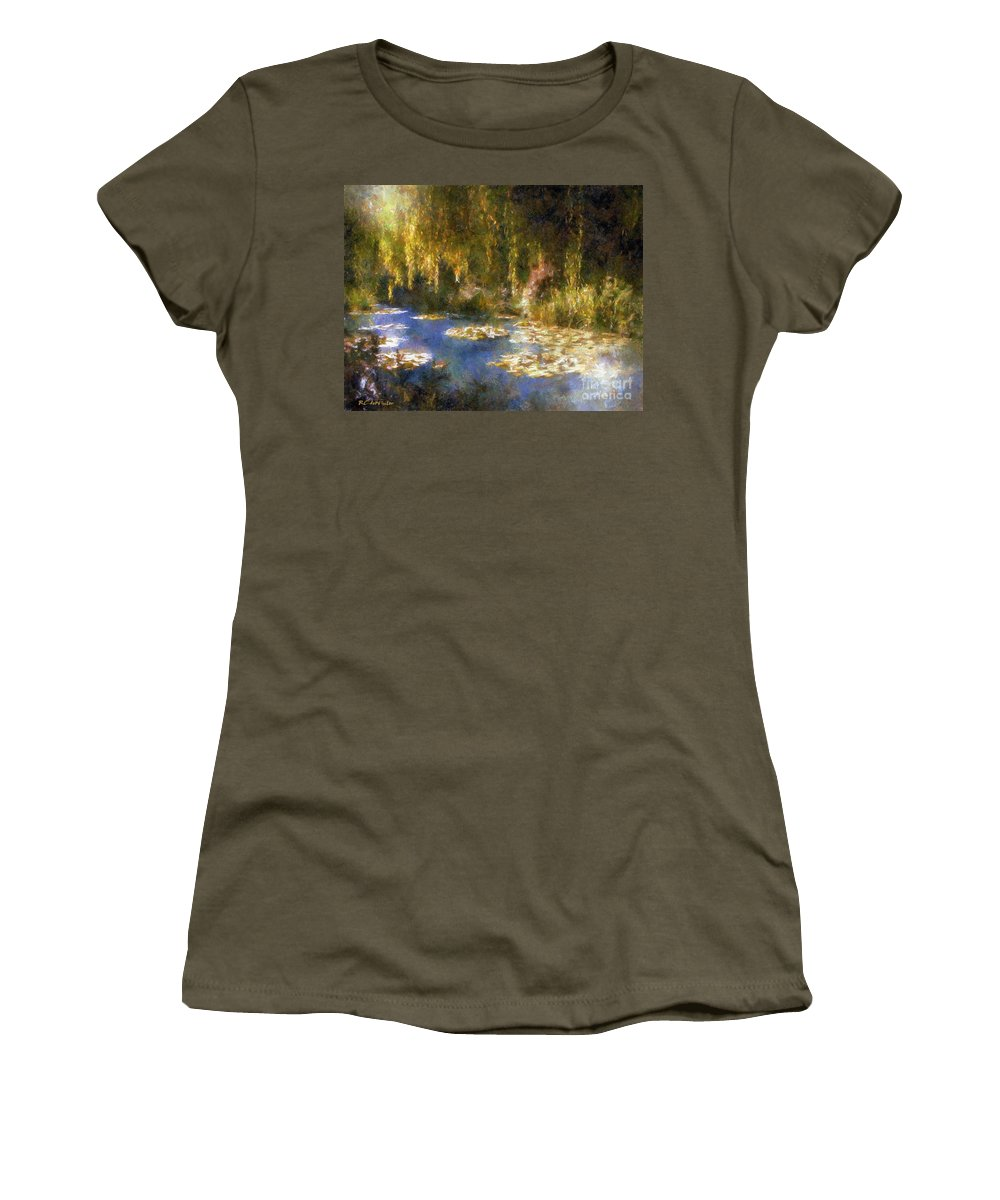 Garden Women's T-Shirt (Athletic Fit) featuring the painting Monet After Midnight by RC DeWinter