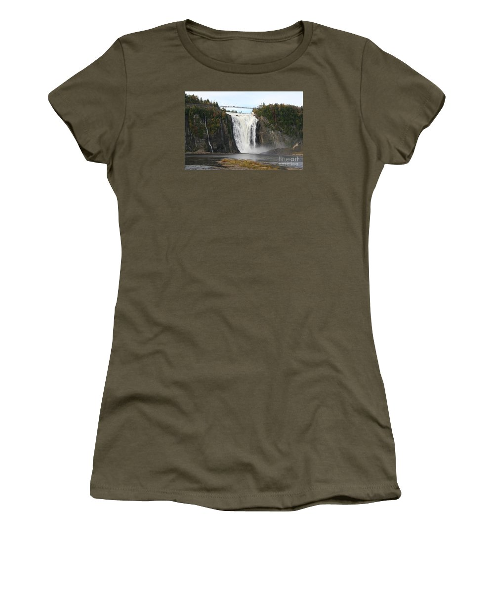 Waterfall Women's T-Shirt featuring the photograph Montmorency Waterfall - Canada by Christiane Schulze Art And Photography