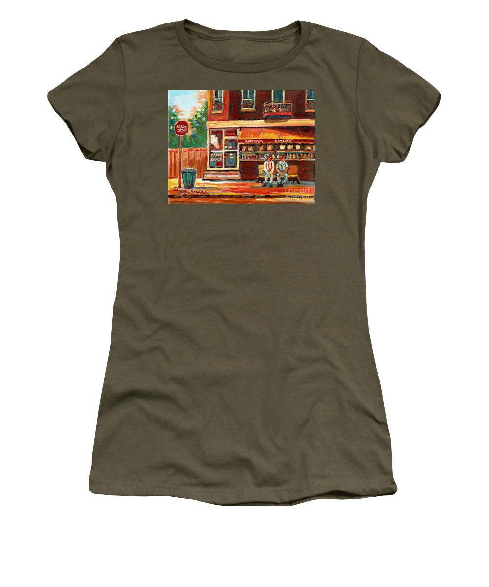 Montreal Women's T-Shirt (Athletic Fit) featuring the painting Montreal Street Scene Paintings by Carole Spandau