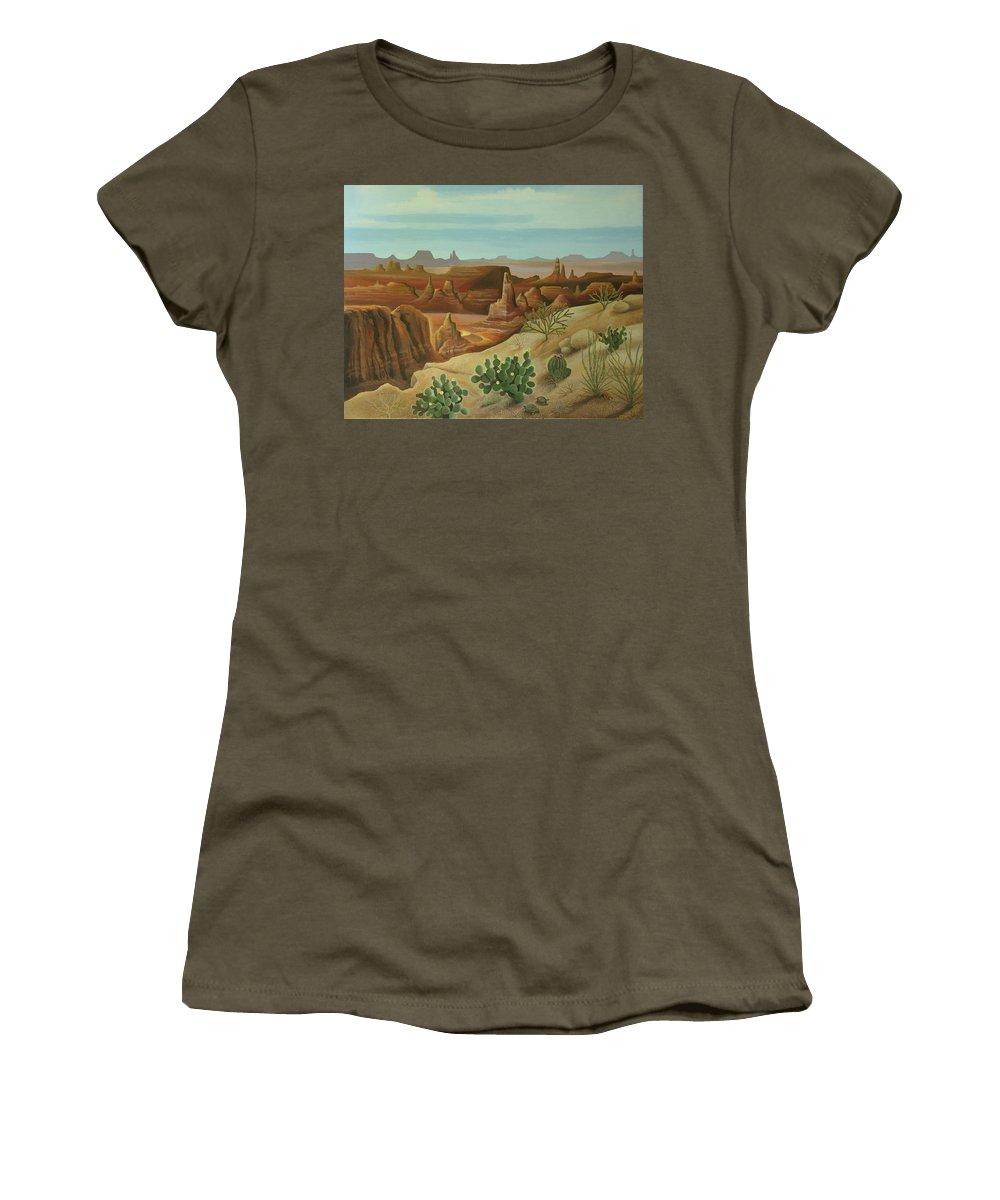 Desert Landscape Women's T-Shirt (Athletic Fit) featuring the painting Monument Valley by Stuart Swartz