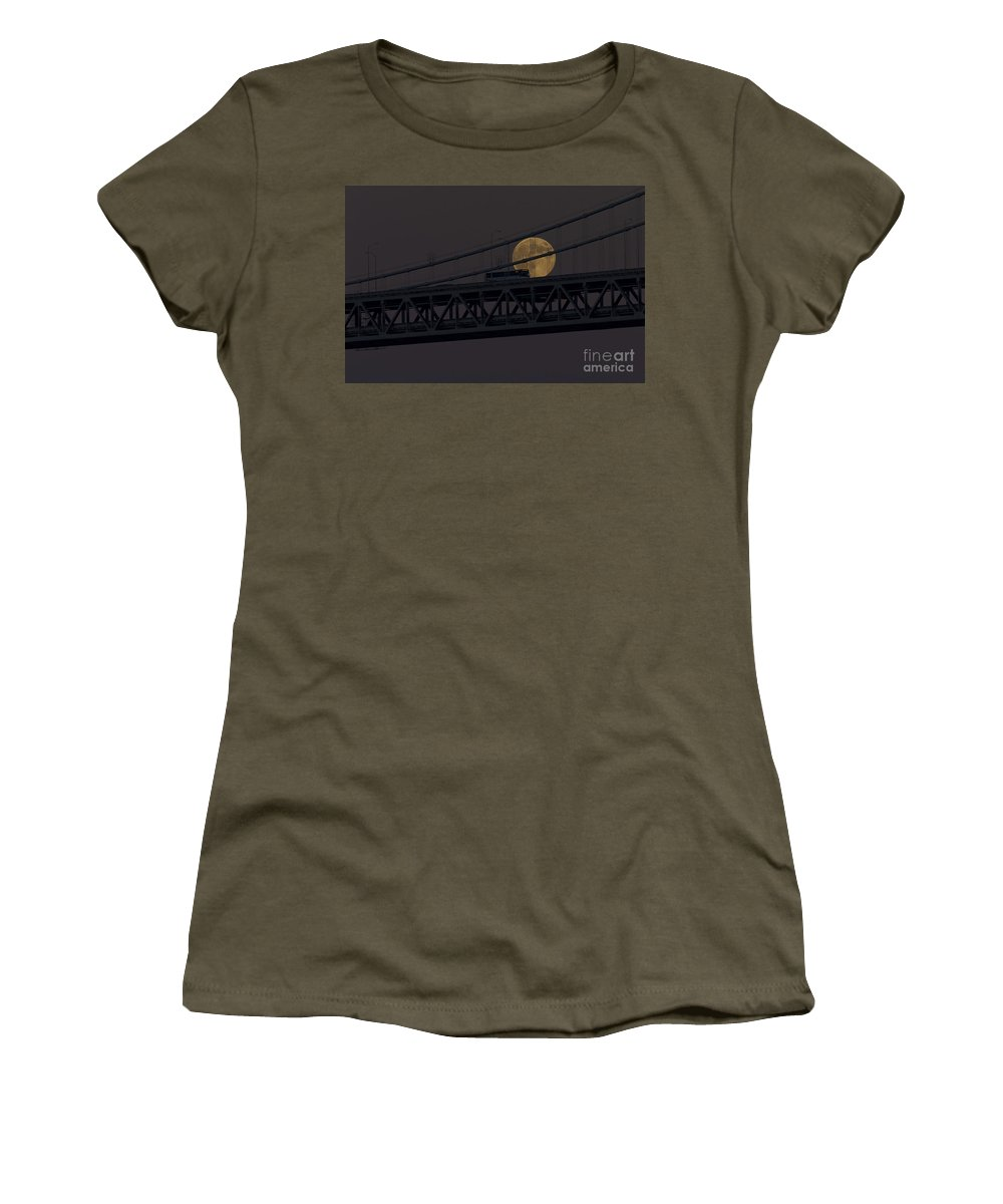 Kate Brown Women's T-Shirt featuring the photograph Moon Bridge Bus by Kate Brown